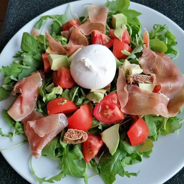 salade buratta parmaham vijgen